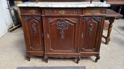 16J05060 MARBLE TOP LOUIS XV BEVELED GLASS DOOR BUFFET DUEX CORPS (2).jpg