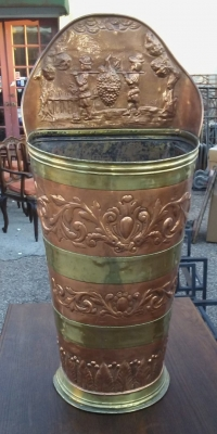 16J05063  BRASS AND COPPER UMBRELLA STAND WITH RELIEF.jpg