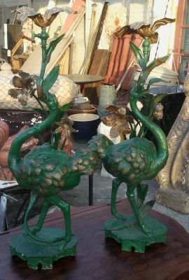 16J05071 PAIR OF GREEN SPELTER OSTRICH LAMPS (1).jpg