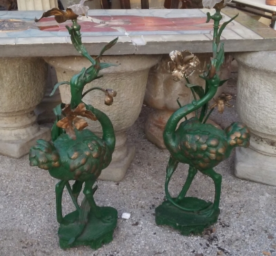 16J05071 PAIR OF GREEN SPELTER OSTRICH LAMPS (2).jpg