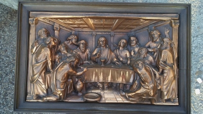 16J05073 FRAMED LAST SUPPER COPPER RELIEF.jpg