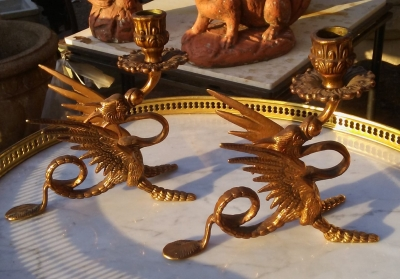 16J05077 PAIR OF BRASS GRIFFIN CANDEL HOLDERS.jpg
