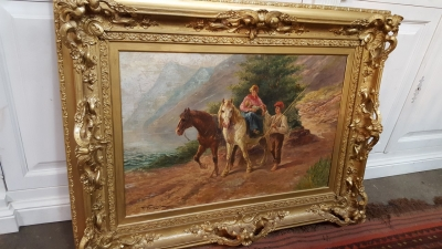 16L19 FRAMED OIL PAINTING OF HORSE AND PEOPLE.jpg