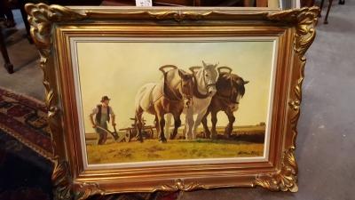 17A01 FRAMED OIL PAINTING OF PLOW HORSES.jpg