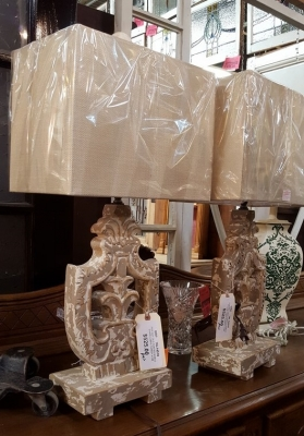 16L15 PAIR OF CARVED WOOD SHIELD LAMPS.jpg