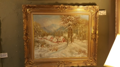 FRAMED SNOW SCENE OIL PAINTING.jpg