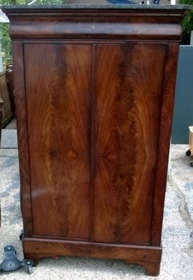 14D22001 MARBLE TOP 2 DOOR MAHOGANY CABINET TURN OF THE CENTURY