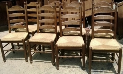 14D22003 SET OF 8 FRENCH LADDER BACK CHAIRS