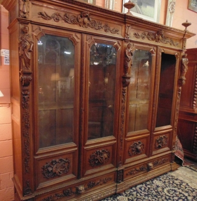 14D22005 INCREDIBLE FIGURAL CARVED 4 DOOR FRENCH OAK TURN OF THE CENTURY BOOKCASE (2).JPG