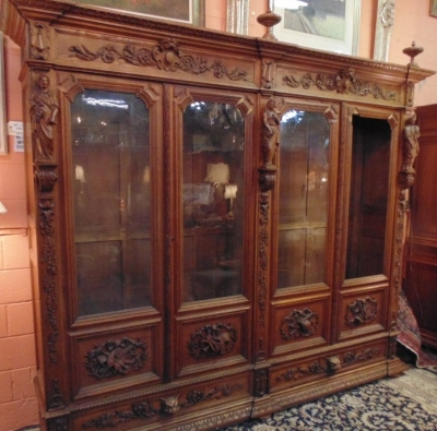 14D22005 INCREDIBLE FIGURAL CARVED 4 DOOR FRENCH OAK TURN OF THE CENTURY BOOKCASE (4).JPG
