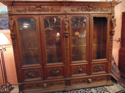 14D22005 INCREDIBLE FIGURAL CARVED 4 DOOR FRENCH OAK TURN OF THE CENTURY BOOKCASE (5).JPG