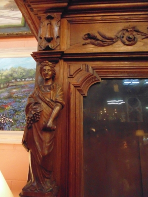 14D22005 INCREDIBLE FIGURAL CARVED 4 DOOR FRENCH OAK TURN OF THE CENTURY BOOKCASE (7).JPG