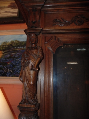 14D22005 INCREDIBLE FIGURAL CARVED 4 DOOR FRENCH OAK TURN OF THE CENTURY BOOKCASE (8).JPG