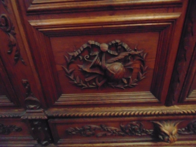 14D22005 INCREDIBLE FIGURAL CARVED 4 DOOR FRENCH OAK TURN OF THE CENTURY BOOKCASE (10).JPG