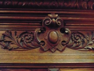 14D22005 INCREDIBLE FIGURAL CARVED 4 DOOR FRENCH OAK TURN OF THE CENTURY BOOKCASE (11).JPG