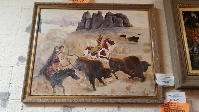 16D04029  BUFFALOS AND INDIANS OIL PAINTING $325.jpg