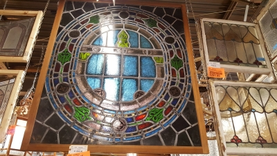 16L06512 PAINTED AND STAINED GLASS WINDOW $1150.jpg