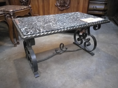 16L29703 MARBLE TOP IRON BASE SPANISH COFFEE TABLE $195.jpg