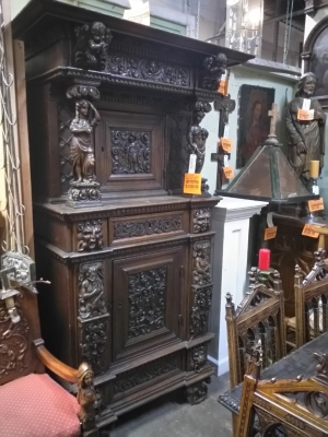 17A15034 EARLY CABINET WITH CARVED LADIES $3850.jpg