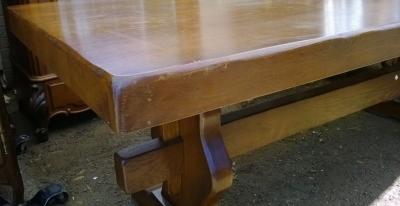14e01012 HEAVY FRENCH OAK TRESTLE TABLE  (3).jpg