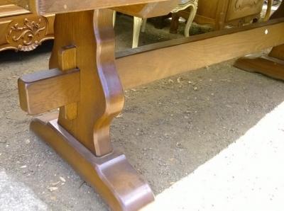 14e01012 HEAVY FRENCH OAK TRESTLE TABLE  (4).jpg