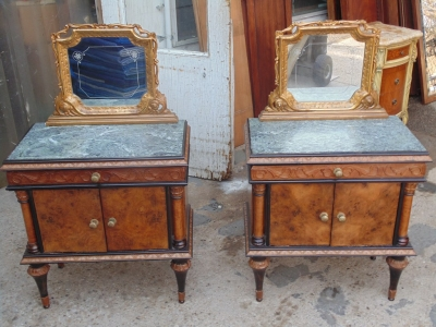 14B04003 PAIR OF ITALIAN MARBLE TOP LAMP TABLES WITH MIRRORS (1)