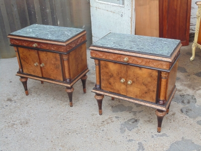 14B04003 PAIR OF ITALIAN MARBLE TOP LAMP TABLES WITH MIRRORS (3)