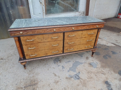 14B04005 ITALIAN BULED MARBLE TOP COMMODE WITH MIRROR (1)
