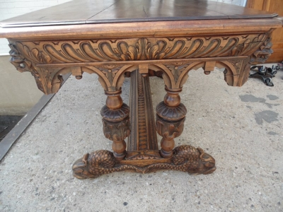 13F06008 CARVED OAK DOLPHIN FOOT LIBRARY TABLE  (6).JPG