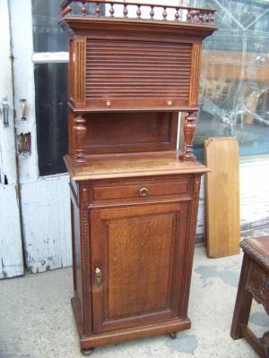 13A31030 Henri II Oak Cabinet with Tambour Door  (1) - Copy.JPG