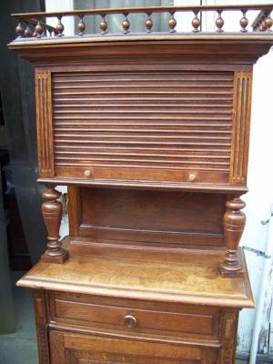 13A31030 Henri II Oak Cabinet with Tambour Door  (2) - Copy.JPG