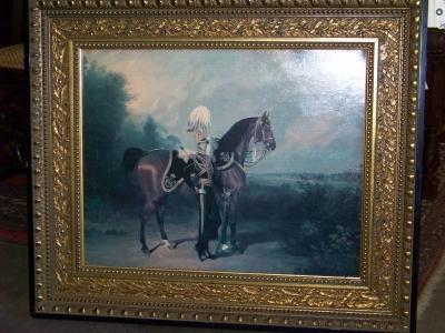 13B04301 SOLDIER & HORSE OIL PAINTING.JPG
