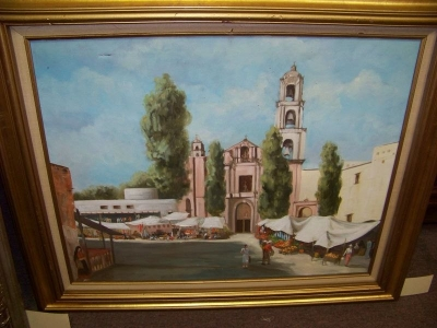 13B04721 POTTER MEXICAN STREET SCENE OIL PAINTING.JPG