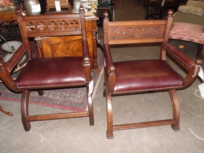13B24005 Pair carved Antique Oak Church Chairs.JPG