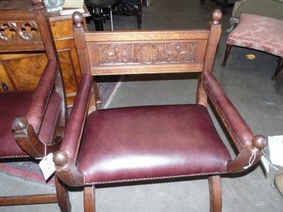 13B24005 Pair Carved Oak Church Chairs.JPG