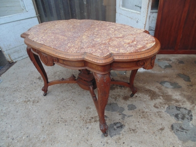 SOLD!   14B04008 RENAISSANCE REVIVAL MARBLE TOP CENTER TABLE  (2)