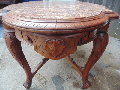 SOLD!!!   14B04008 RENAISSANCE REVIVAL MARBLE TOP CENTER TABLE  (3)
