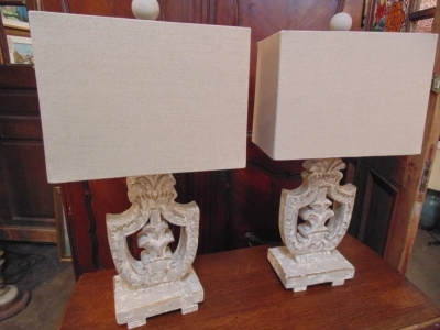 13D08465 PAIR WHITE WOOD PIERCED CARVED LAMPS.JPG