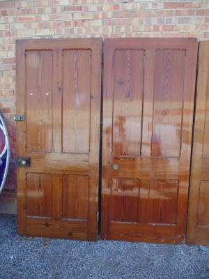 13E07001 AND 2 TWO ENGLISH PANELED PINE DOOR.JPG