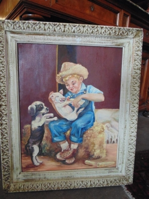 13f03570 Oil of Ted as a child feeding a piglet.JPG