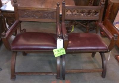 SOLD!    12f28038 pair gothic church chairs $895.00 PAIR