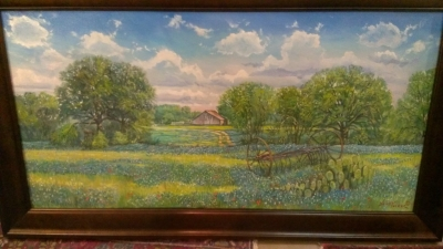 14E12500 LARGE BLUE BONNET OIL PAINTING BY SCOTT TUCKER