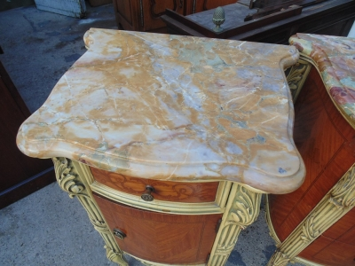 14B04014 AND 15 PAIR OF MARBLE TOP LOUIS XV LAMP TABLES (2)