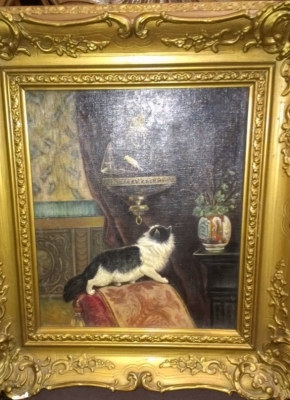 14E OIL PAINTING OF CAT AND PREY