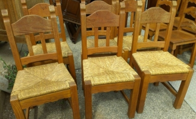 14E RUSTIC SET OF OAK FRENCH CHAIRS