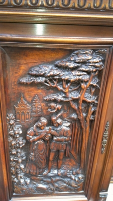 14E INCREDIBLE CARVED WALNUT FRENCH CABINET