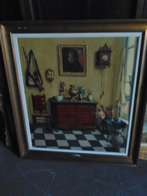 SOLD 14B15003 FRAMED OIL PAINTING OF FRENCH ROOM INTERIOR (1)