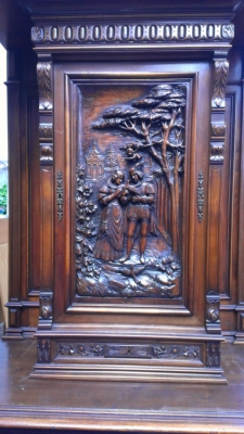14E CARVED WALNUT CABINET