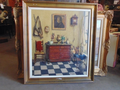 SOLD   14B15003 FRAMED OIL PAINTING OF FRENCH ROOM INTERIOR (3)