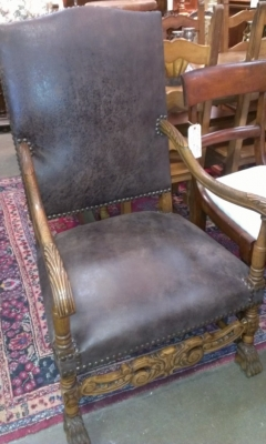 PAIR LEATHER CARVED ARM CHAIRS
